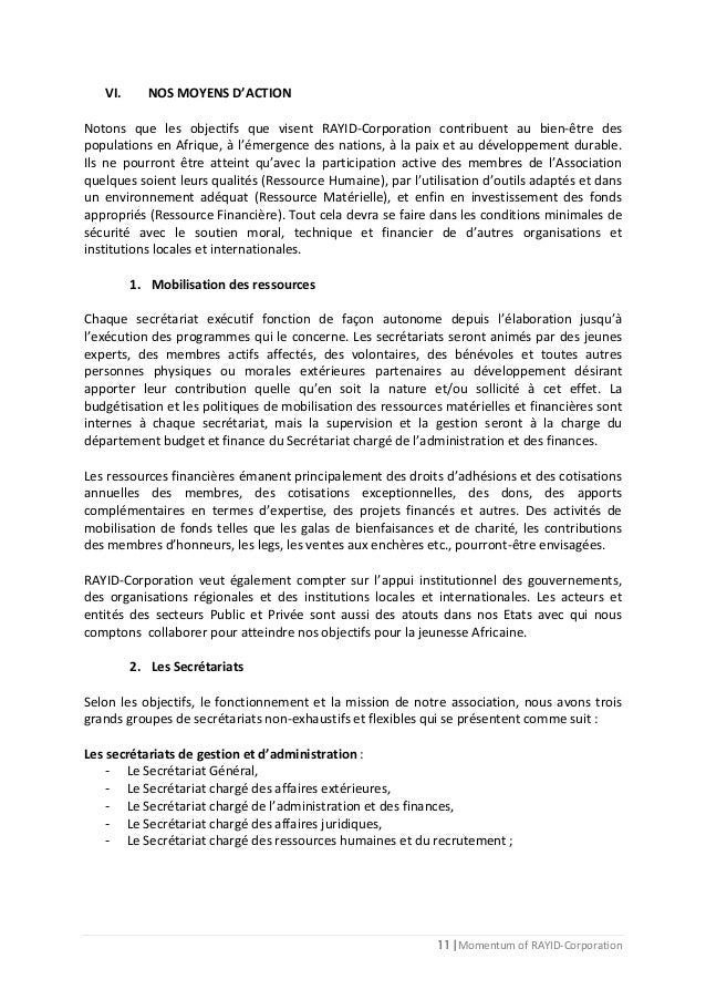 11 | Momentum of RAYID-Corporation VI. NOS MOYENS D'ACTION Notons que les objectifs que visent RAYID-Corporation contribue...
