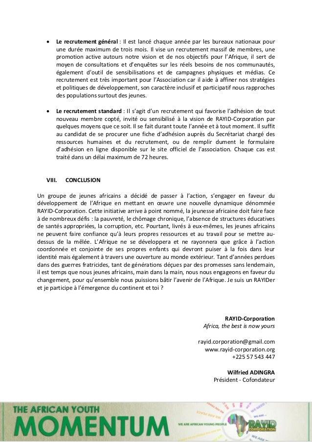 13 | Momentum of RAYID-Corporation  Le recrutement général : Il est lancé chaque année par les bureaux nationaux pour une...