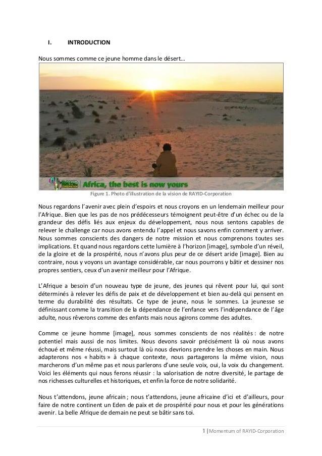 1 | Momentum of RAYID-Corporation I. INTRODUCTION Nous sommes comme ce jeune homme dans le désert… Figure 1. Photo d'illus...