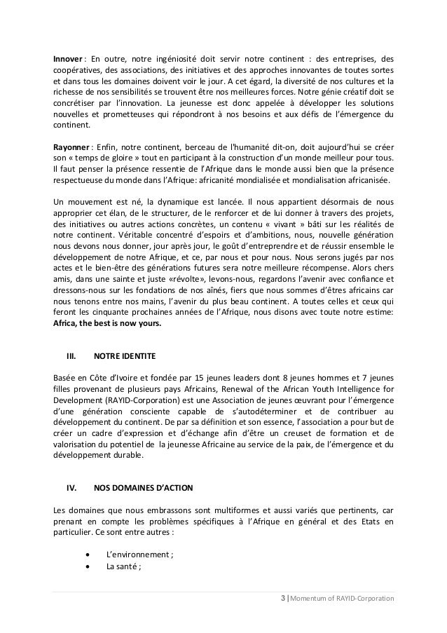 3 | Momentum of RAYID-Corporation Innover : En outre, notre ingéniosité doit servir notre continent : des entreprises, des...