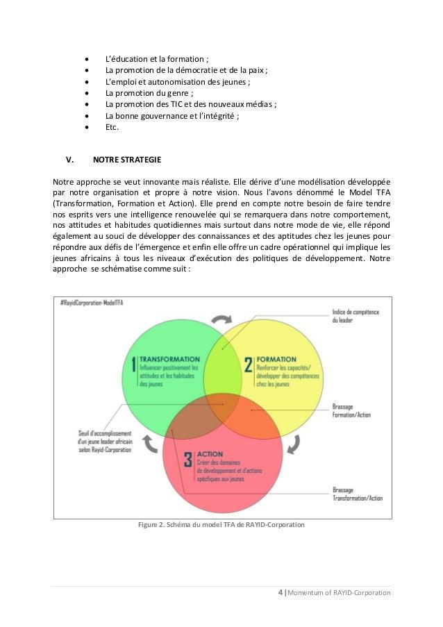4 | Momentum of RAYID-Corporation  L'éducation et la formation ;  La promotion de la démocratie et de la paix ;  L'empl...
