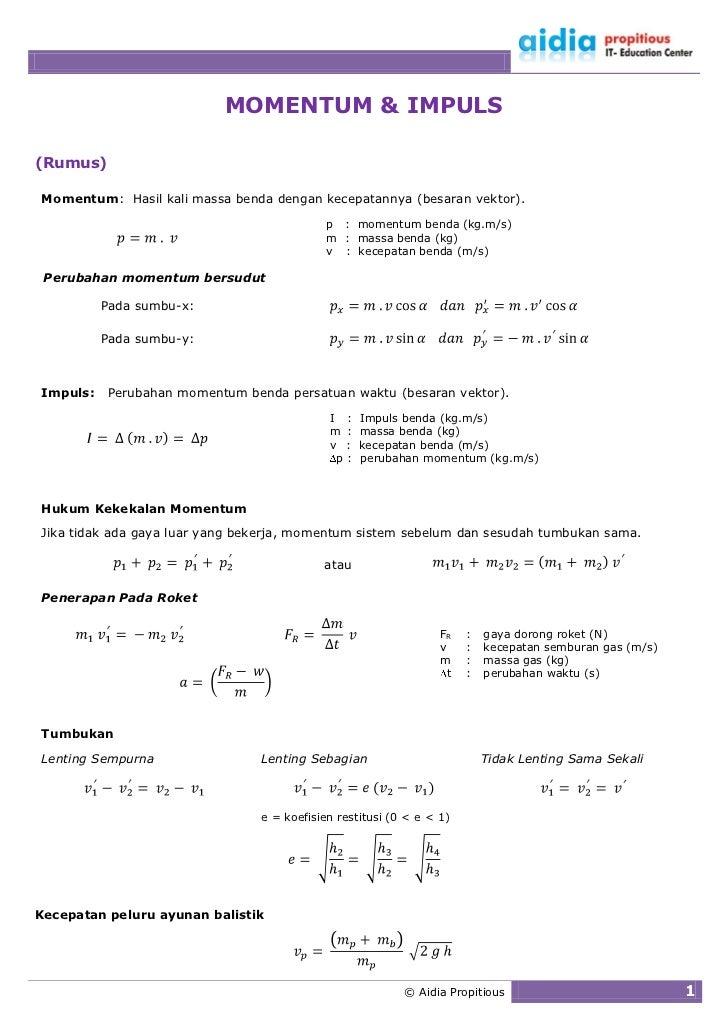 MOMENTUM & IMPULS  (Rumus)  Momentum: Hasil kali massa benda dengan kecepatannya (besaran vektor).                        ...