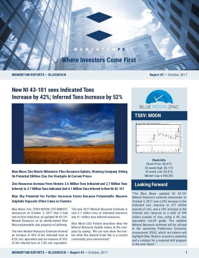 MOMENTUM REPORTS — BLUEMOON — Report #2 — October, 2017 1 Blue Moon Zinc Meets Milestone: Files Resource Update, Showing C...