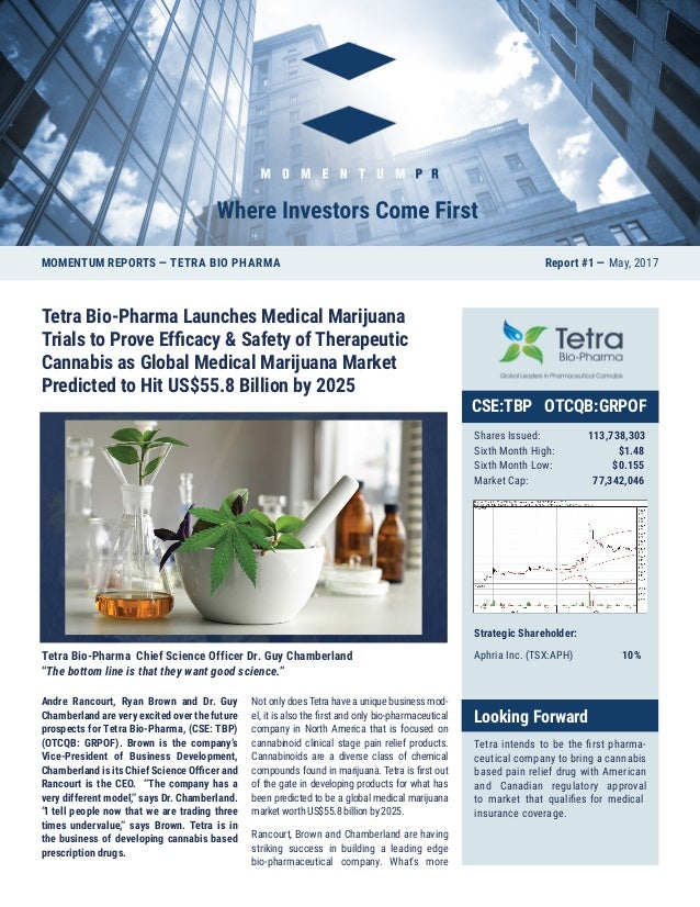 Tetra Bio-Pharma Launches Medical Marijuana Trials to Prove Efficacy & Safety of Therapeutic Cannabis as Global Medical Ma...