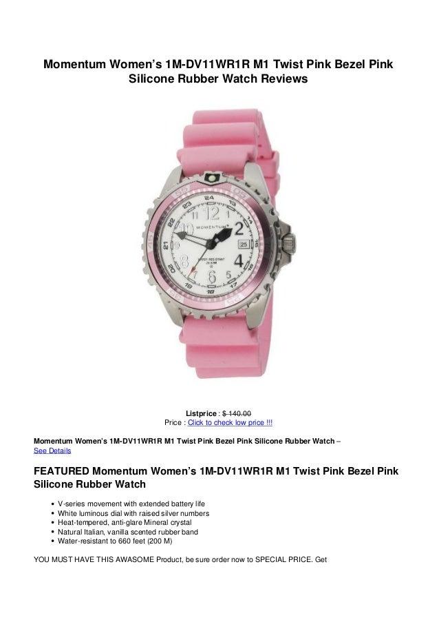 Momentum Women's 1M-DV11WR1R M1 Twist Pink Bezel Pink             Silicone Rubber Watch Reviews                           ...