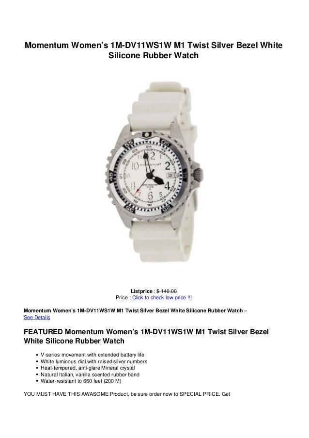 Momentum Women's 1M-DV11WS1W M1 Twist Silver Bezel White                Silicone Rubber Watch                             ...