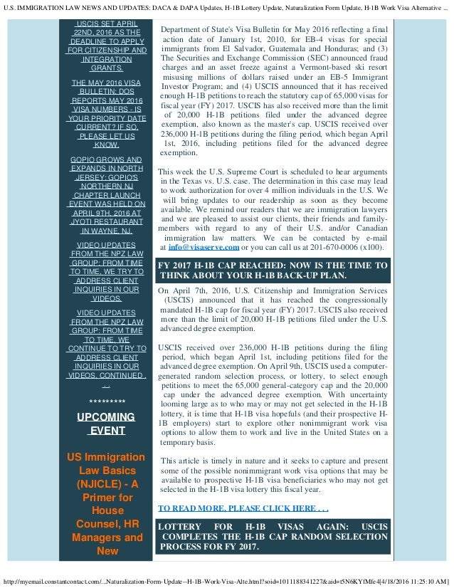 U.S. IMMIGRATION LAW NEWS AND UPDATES: DACA & DAPA Updates, H-1B Lott…