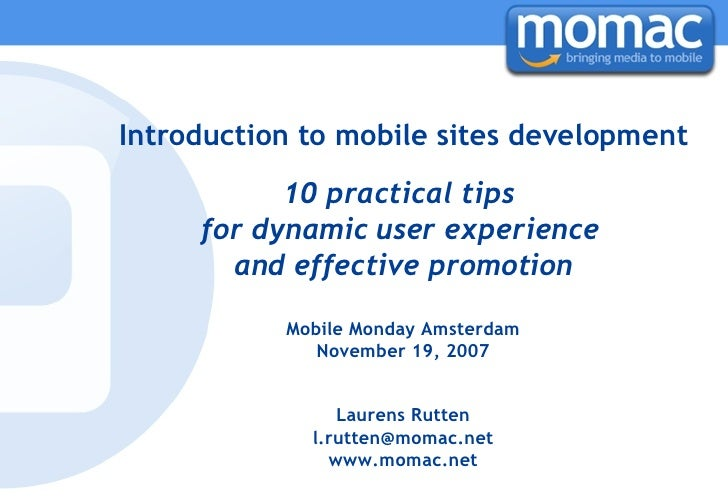 Introduction to mobile sites development 10 practical tips  for dynamic user experience  and effective promotion Mobile Mo...