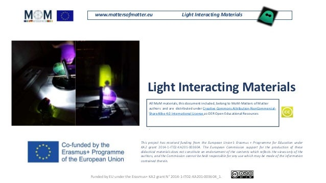 www.mattersofmatter.eu Light Interacting Materials Light Interacting Materials All MoM materials, this document included, ...