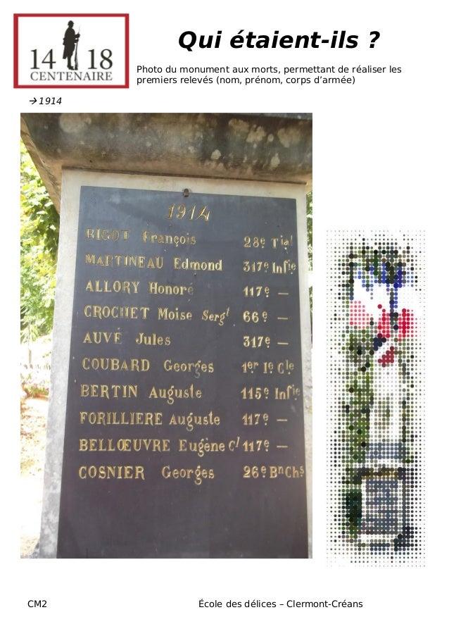 CM2 École des délices – Clermont-Créans  Qui étaient-ils ?  Photo du monument aux morts, permettant de réaliser les premie...