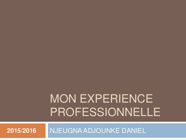 MON EXPERIENCE PROFESSIONNELLE NJEUGNA ADJOUNKE DANIEL2015/2016
