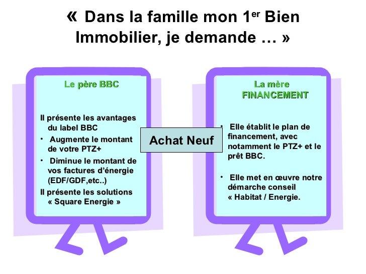 « Dans la famille mon 1 er  Bien Immobilier, je demande …» Achat Neuf <ul><li>Le père BBC </li></ul><ul><li>Il présente ...