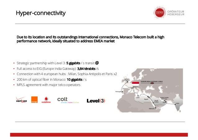 • Strategic partnership with Level 3: 5 gigabits / s transit @ • Full access to EIG (Europe India Gateway): 3,84 térabits ...
