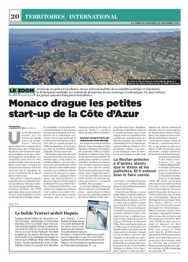 20 TERRITOIRES / INTERNATIONAL LA TRIBUNE VENDREDI 22 NOVEMBRE 2013  En 2012, le PIB de Monaco (4,48 milliards d'euros) a ...