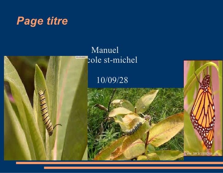 Page titre <ul><li>Manuel  école st-michel  10/09/28 </li></ul>