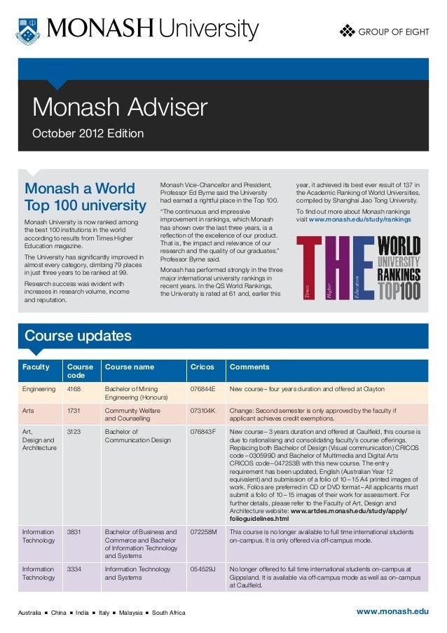 Monash Adviser     October 2012 Edition  Monash a World                                                      Monash Vice-C...