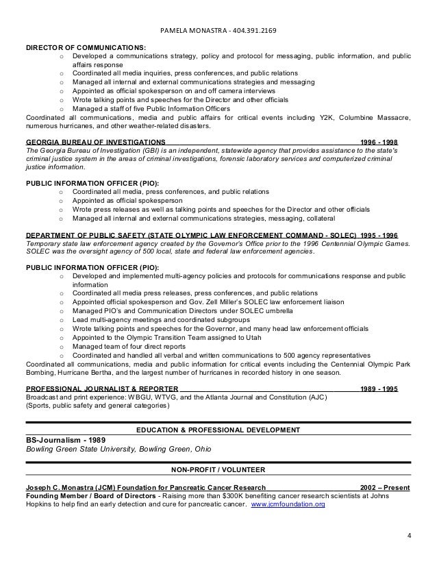 3 4 - Public Information Officer Sample Resume