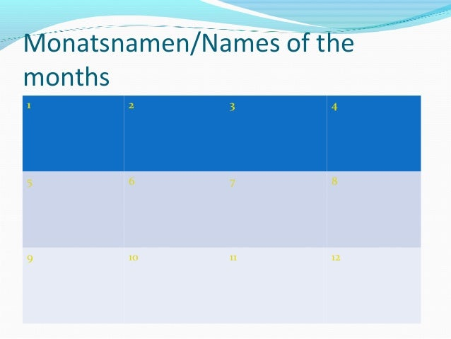 Monatsnamen/Names of themonths1      2      3       45      6      7       89      10     11      12