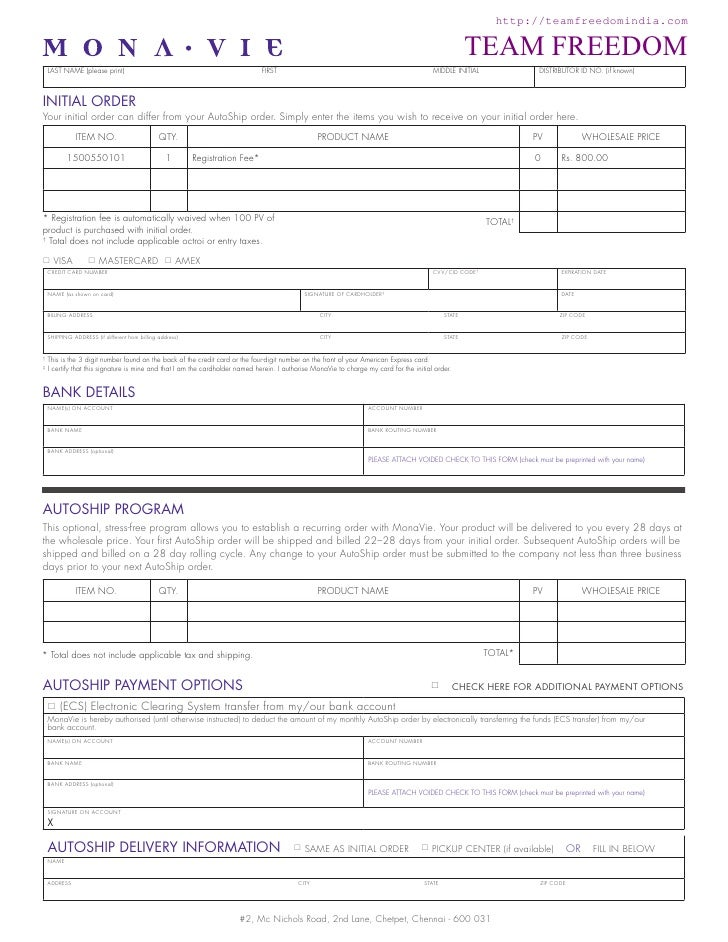 Mona Vie India Corporate Enrollment Form