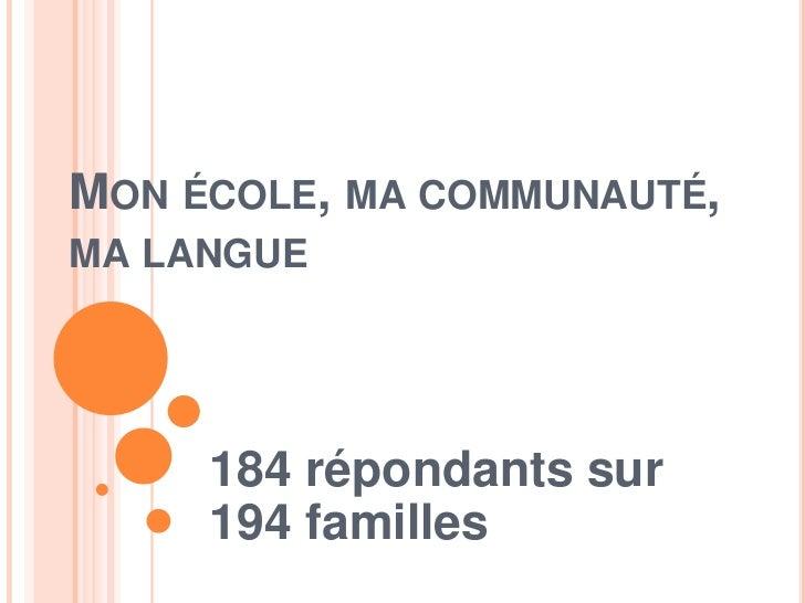 MON ÉCOLE, MA COMMUNAUTÉ,MA LANGUE     184 répondants sur     194 familles