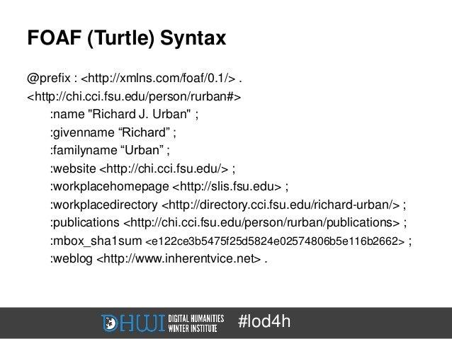 """FOAF (Turtle) Syntax@prefix : <http://xmlns.com/foaf/0.1/> .<http://chi.cci.fsu.edu/person/rurban#>    :name """"Richard J. U..."""