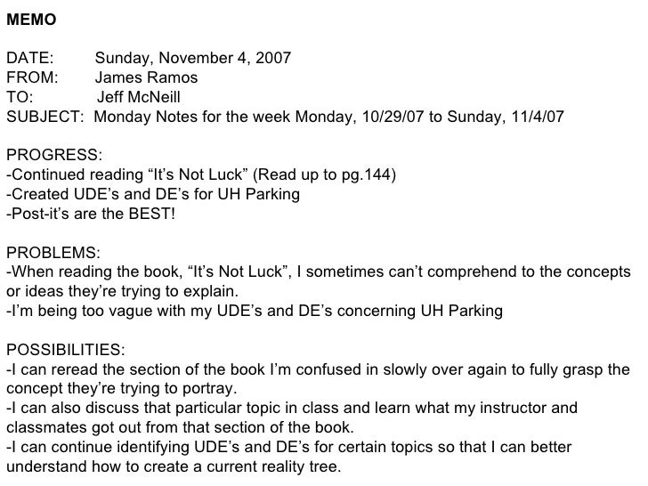 MEMO DATE:  Sunday, November 4, 2007 FROM:  James Ramos TO:  Jeff McNeill SUBJECT:  Monday Notes for the week Monday, 10/2...