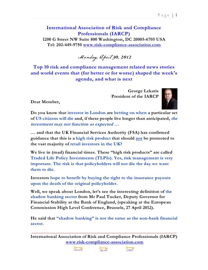 Page |1        International Association of Risk and Compliance                      Professionals (IARCP)      1200 G Str...