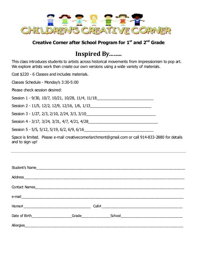 Creative Corner after School Program for 1st and 2nd Grade  Inspired By…….. This class introduces students to artists acro...