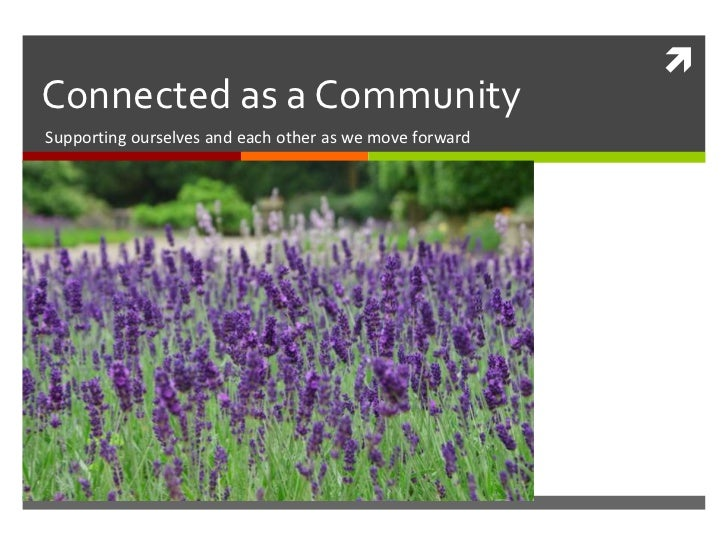 Connected as a Community<br />Supporting ourselves and each other as we move forward<br />