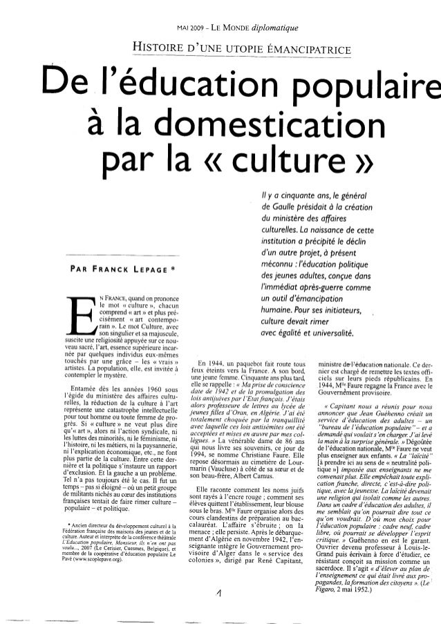 Monde diplomatique2009 del_educationpopulairealadomesticationdelaculture