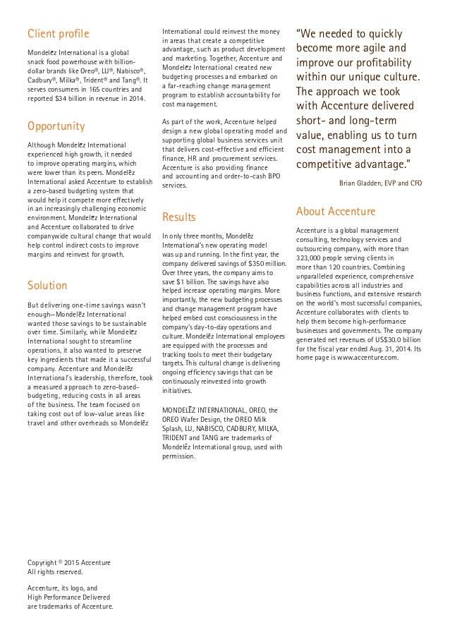 Mondelēz International: Delivering savings with zero-based budgeting Slide 2