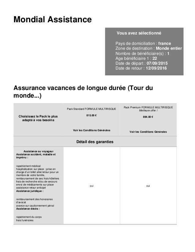 Mondial Assistance Vous avez sélectionné Pays de domiciliation : france Zone de destination : Monde entier Nombre de bénéf...