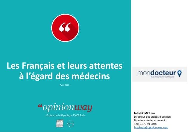15 place de la République 75003 Paris Les Français et leurs attentes à l'égard des médecins Avril 2016 Frédéric Micheau Di...