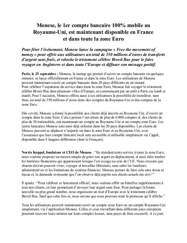 Monese, le 1er compte bancaire 100% mobile au Royaume-Uni, est maintenant disponible en France et...