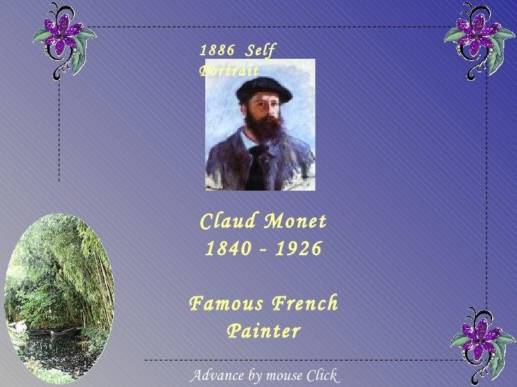 1886 Self Portrait Claud Monet 1840 - 1926Famous French   PainterAdvance by mouse Click