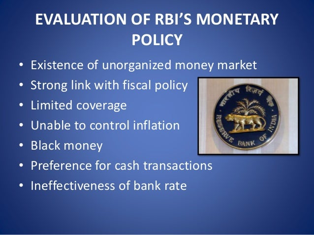 monetary and credit policy of rbi Box 32 monetary and credit policy measures : 1998-99 monetary and credit policy 9 it has been customary for rbi to announce a set of measures of both short-term and.