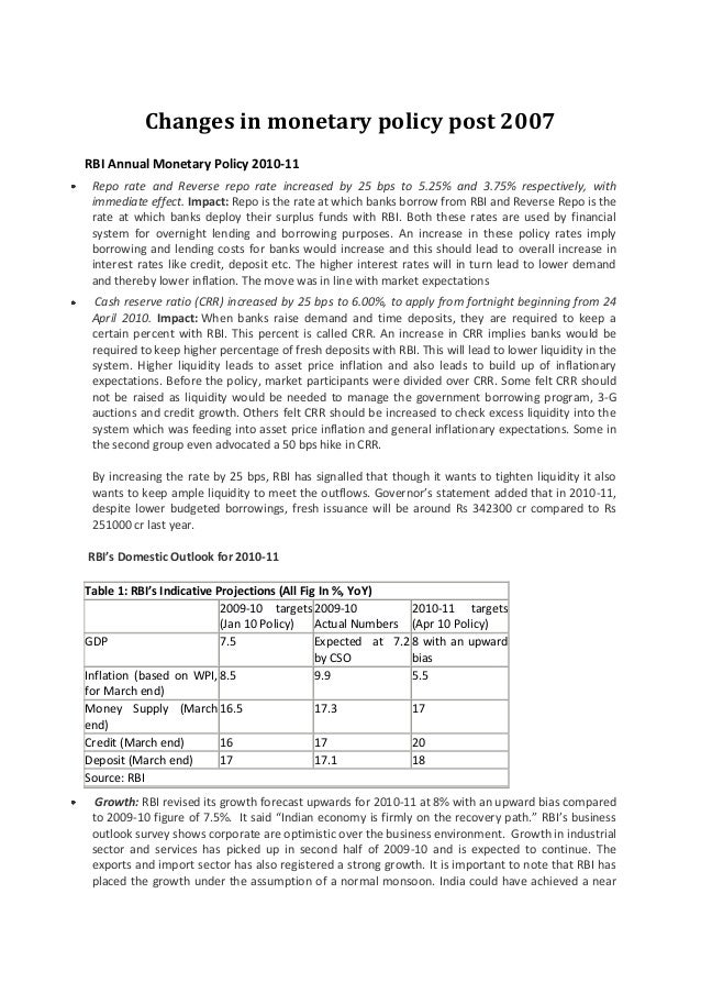 Changes in monetary policy post 2007 RBI Annual Monetary Policy 2010-11 Repo rate and Reverse repo rate increased by 25 bp...