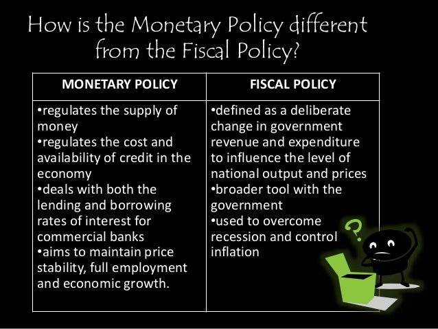 comparison of monetary and fiscal policies Contrast, monetary policy was highly erratic compared to monetary policy during  other  was fiscal and monetary policy inappropriate or misguided how did.