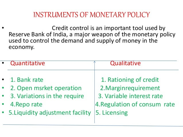 instruments of credit control