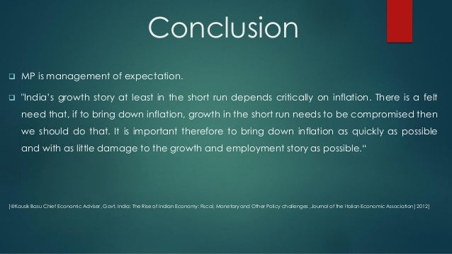 conclusion on inflation in india