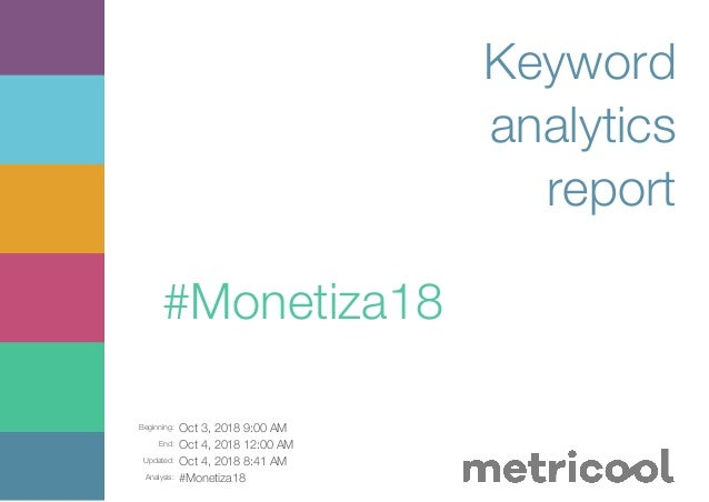 Beginning: Oct 3, 2018 9:00 AM End: Oct 4, 2018 12:00 AM Updated: Oct 4, 2018 8:41 AM Analysis: #Monetiza18 Keyword analyt...