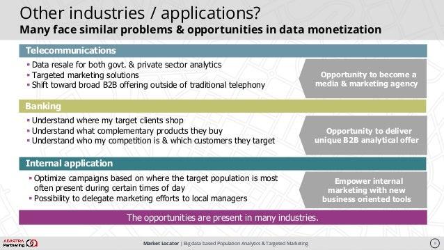 Market Locator   Big data based Population Analytics & Targeted Marketing Telecommunications § Data resale for both govt. ...