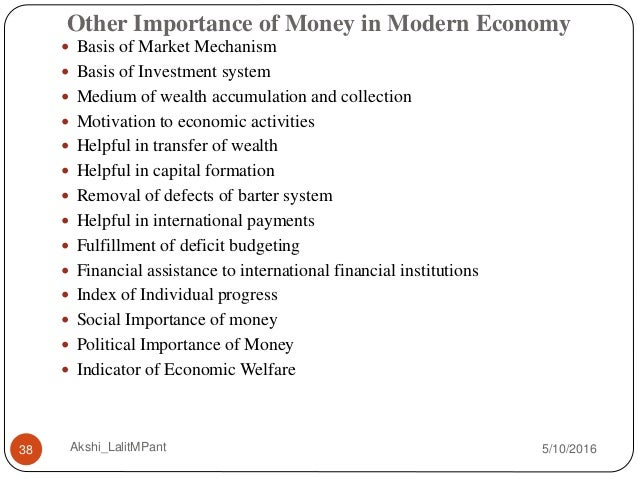 role of money in modern economics Learn for free about math, art, computer programming, economics, physics, chemistry, biology, medicine, finance, history, and more khan academy is a nonprofit with.