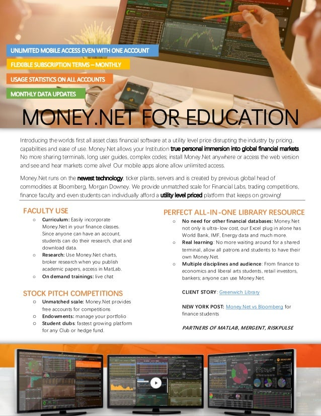 Money.net financial database - university and library brochure