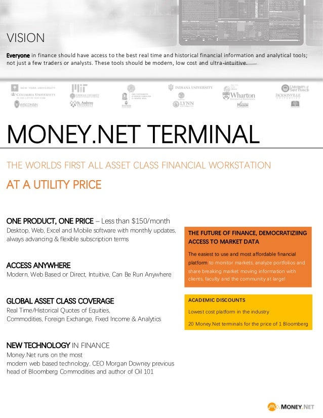 Money net financial database - university and library brochure