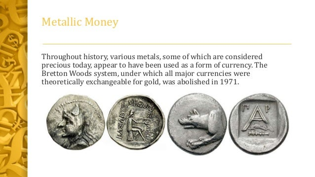 History of money and types with features.