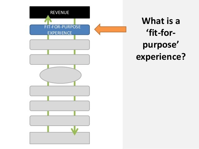 REVENUEWhat is a'fit-for-purpose'experience?FIT-FOR-PURPOSEEXPERIENCE