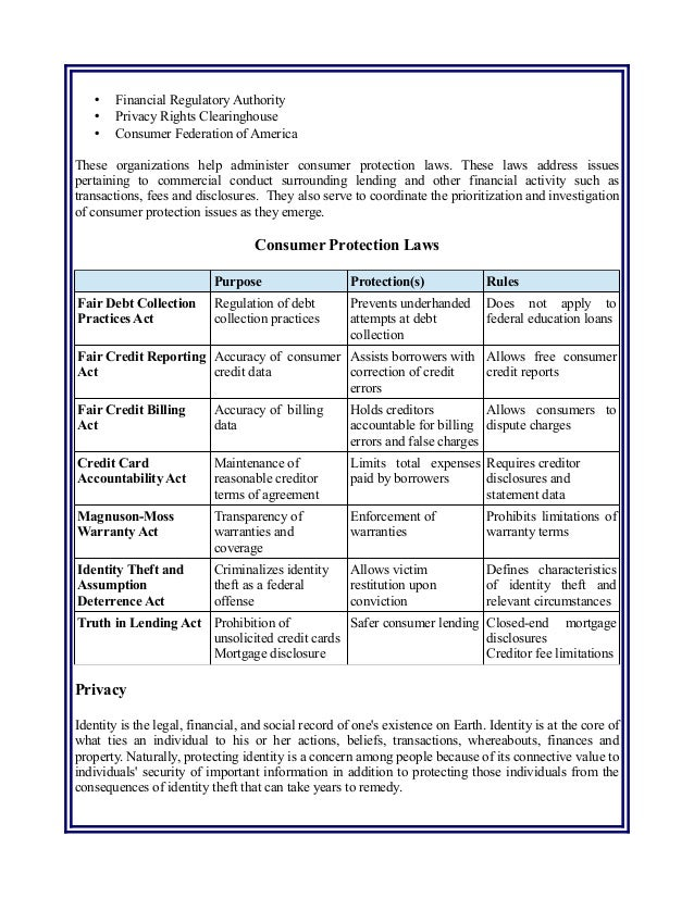 Consumer Financial Protections