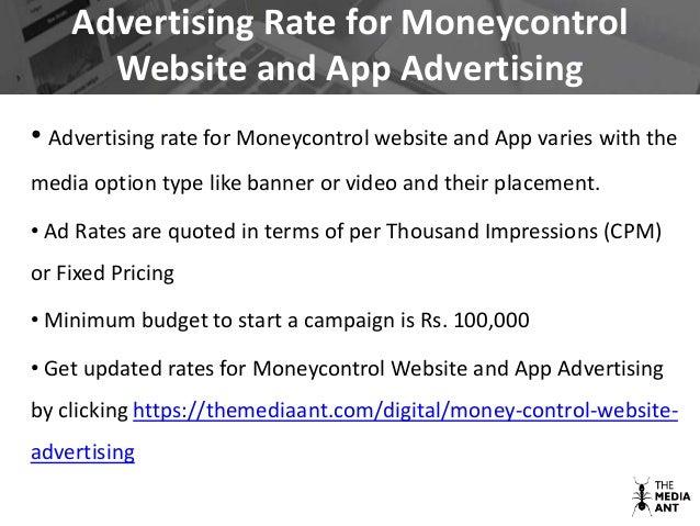 Moneycontrol advertising details