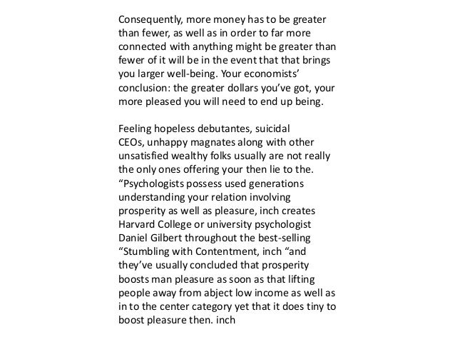 Does money buy happiness synthesis essay